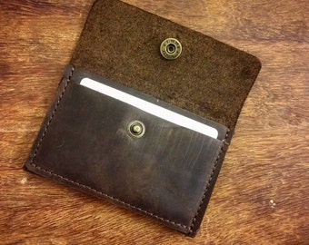 Dark Brown leather Mini wallet. Credit Card Case. Leather Wallet.Mini Wallet, Small leather wallet, Leather Card holder,Men's Leather Wallet