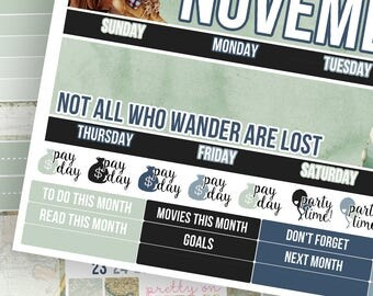 Wanderer Monthly Kit (CHOOSE YOUR MONTH!)- Planner Stickers