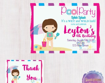 Girl Pool Party/Pool Birthday with thank you note