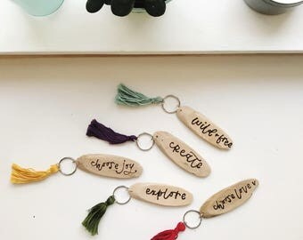Wood Burned Keychain | cute keychain | tassel keychain | wood keychain | custom keychain | keychain favors