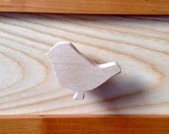 Drawer knob or peg bird themed natural wood
