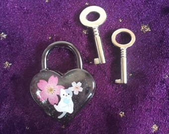 Sakura Kitty Heart Padlock and Keys