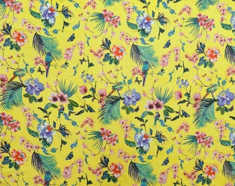 """Yellow Fabric, Decor Fabric, Floral Print, Apparel Material, Sewing Fabric, 44"""" Inch Cotton Fabric By The Yard ZBC8734A"""
