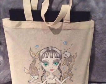 Koi Fish Girl, Flower girl Canvas Tote Bag collection...