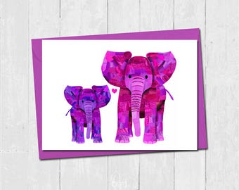 Elephant mothers day card, First mothers day card, Personalised elephant card for mum, Cute mother son daughter love card, Mum and baby card