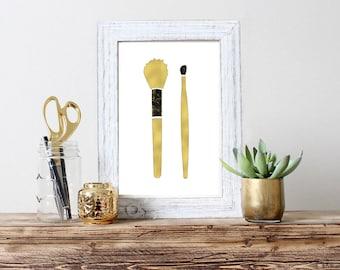 Make up brushes Wall Art Print Gold Make up brushes Printable Poster make up Print Make up gold art decor Gold decor posters Gold prints