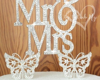 Mr & Mrs large Size Vow Renewal celebration.Wedding quotes. Crystal Rhinestones. Anniversary cake topper. Center piece, party decoration.