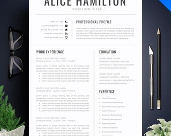 Resume Template With Photo / CV Template + Cover Letter | Instant Download | Teacher Resume | Professional and Creative Resume Template