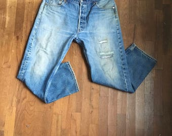 vintage levis 501 patched blue jeans made in usa 36 x 27 1/2