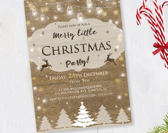 Christmas Party Invitation - Rustic Invitation - Holiday Invite - Christmas Party Invite - Rustic Christmas Party Invitation