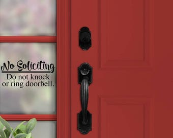 No Soliciting Decal | No knocking | No doorbell | Do not disturb | No Soliciting Sign | Home Decor | Go away | Door Decal | Doorbell | Knock