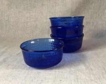 Vintage Forte Crisa Mexico Cobalt Blue Glass Cereal Bowls, Set of 4