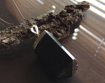 Black Tourmaline Necklace, Chunky Black Tourmaline Necklace