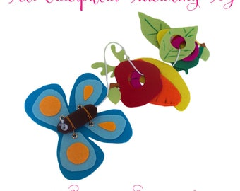 No Sew Felt Toy Pattern - Hungry Caterpillar Toy - Fine Motor Skills Toy - PDF Pattern - Felt Toy Tutorial - Threading Toy Tutorial