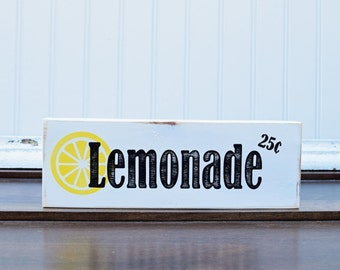 Lemonade Stand Sign, Wood sign,  Summer Decor, Kitchen wall art