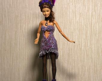 Handmade Barbie clothes Barbie crochet Handmade crocheted beaded sequins Showgirl gown for barbie Barbie sequins dress
