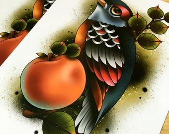 Peachy - Tattoo Art Print
