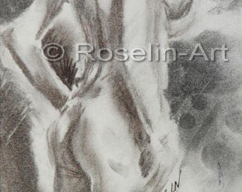 Charcoal drawing. Back view