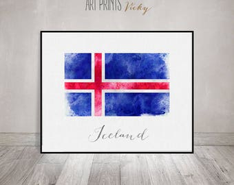 iceland flag print iceland flag art poster watercolor wall art iceland art