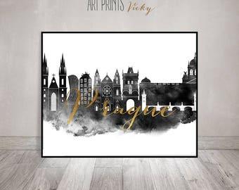 Prague art print skyline, black and white, watercolor Poster, travel wall art, Czech Republic, travel, faux gold, ArtPrintsVicky