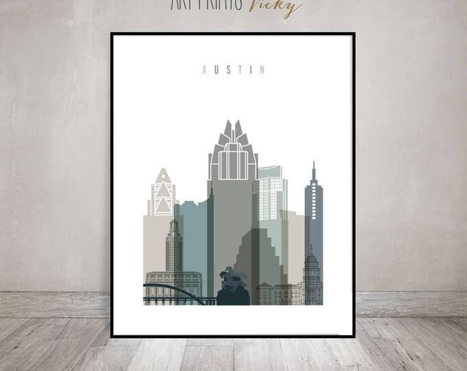 Austin wall art print, Austin skyline poster, City poster, Travel gift, Wall decor, Housewarming gift, Home decor, ArtPrintsVicky