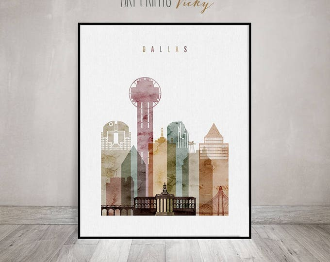 Dallas print, Dallas watercolor poster, Dallas skyline, Wall art, Travel poster, city prints, cityscape, Home Decor, Gift, ArtPrintsVicky