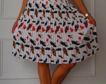 Silk skirt, silk skirt, pleated skirt, skirt to the knee, evening skirts, skirt, skirt cocktail dress day, italian dress, white dress