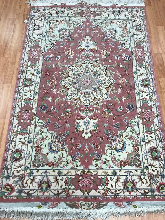 "3'4"" x 5'3"" Persian Tabriz Oriental Rug - Fine - 400 KPSI - Wool & Silk - Hand Made"