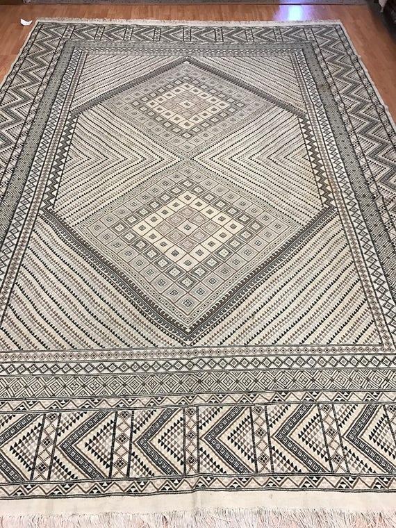 "8'1"" x 11'4"" Tunisian Kazak Kilim Oriental Rug - Hand Made - 100% Wool"