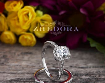 Emerald Cut Bridal Engagement Set 1.50 CTW in Solid 14k white gold Wedding set engagement ring
