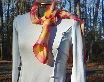 Silk head scarves/Silk scarves pink/handmade scarves/scarves hand dyed yellow/unique scarves/designer scarves/wedding scarves/pink scarves
