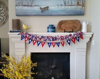 July 4th Banner, July 4th Garland, July 4th Decoration, Red White Blue Decoration, July 4th Party Decoration, Independence Day