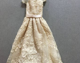 Vintage Handmade Barbie Wedding Gown-Champagne Lace