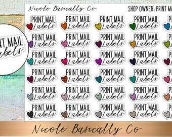 Shop Owner- Print Mail Labels Planner Stickers