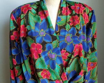vintage floral foliage polyester wrap dress
