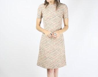 90s A-line Shift Dress, Red Blue crosshatch Mini dress, 90s-does-60s, XS 3966