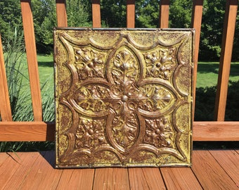 Antique Tin Ceiling Tile | Authentic Vintage Tin Ceiling Tile | Salvaged Tin Ceiling Tile