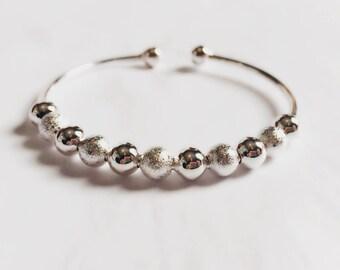 Silver bead charm bracelet / Silver beaded bangle adjustable size / Customizable charm bangle bracelet / BR10