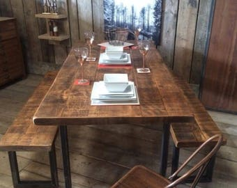 Vintage Industrial Rustic Reclaimed Plank Top Dining Table U-Frame Steel Base (Handmade UK)