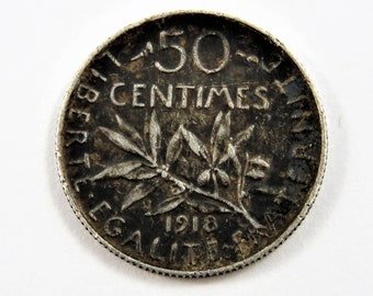 France 1918 Silver 50 Centimes Coin.
