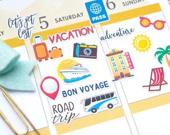 Travel Planner Stickers, Summer Planner Stickers, August Stickers, Travel Stickers For Erin Condren Planner, MAMBI Stickers, Bujo Stickers