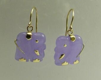 Lavender Jade Elephant Earring 14k Yellow Gold