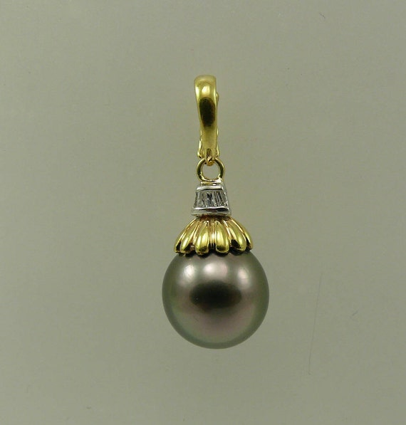 Tahitian Black Round 11.2 mm Pearl Pendant 14k Yellow Gold and Diamonds 0.03ct