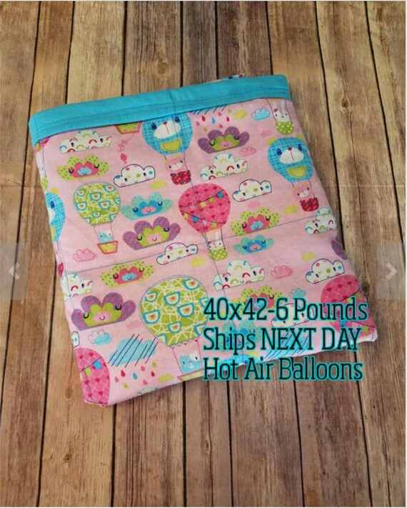 Hot Air Balloon, 6 Pound, WEIGHTED BLANKET, Ready To Ship 6 pounds, 40x42 for Autism, ADHD, spd, ptsd, calming blanket