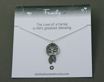 Family necklace, grand-mother necklace, silver tree of life necklace, grand-mother gift, family gift, mother necklace, generation gift