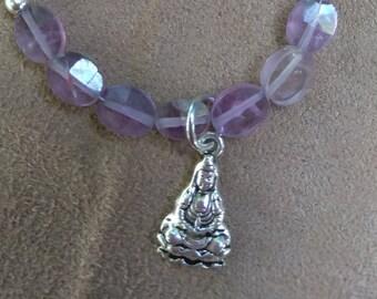 Amethyst Crystal Bracelet with Silver Buddha charm