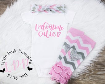 My First Valentine Outfit, Valentine Cutie Bodysuit, Baby Girl Valentine Outfit, First Valentines Day, Baby Valentines Day Outfit