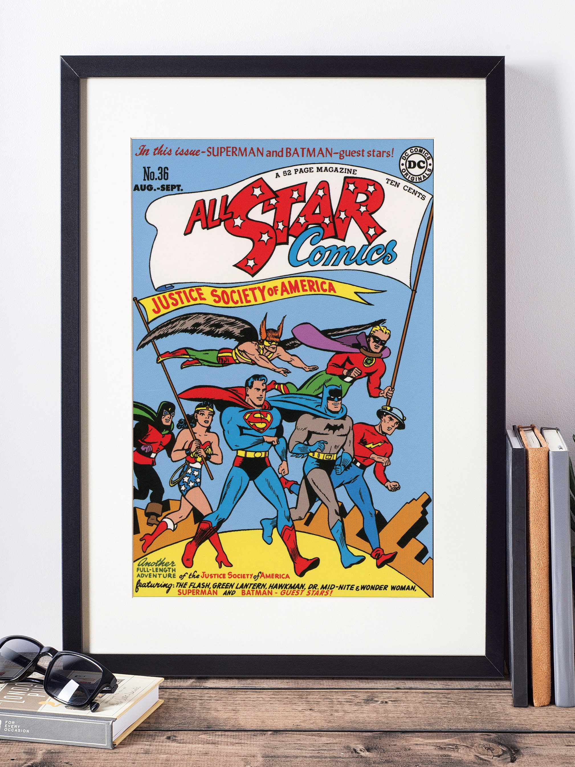 Book Cover Wall Art : The justice league wall art vintage comic book cover