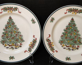 """TWO Johnson Brothers Victorian Christmas England Dinner Plates 10 1/2"""" EXCELLENT!"""