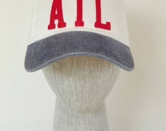 Handmade Atlanta Baseball Hat - White with Red ATL Letters and Navy Bill
